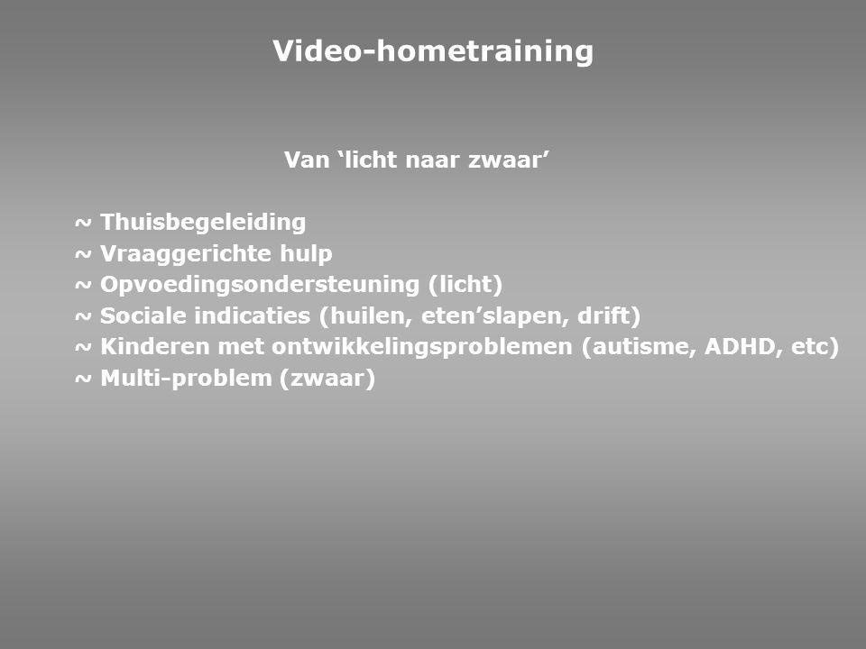 ~ De methodiek ~ Prematuur geboren ~ Onderzoek ~ Eerste contact na de geboorte ~ Lichaamstaal van jonge kinderen ~ 15 minuten ~ 6 weken ~ 12 weken ~ Sociale indicaties (huilen, eten, drift) ~ Universele lichaamstaal van kinderen Video-interactiebegeleiding/ Video-hometraining