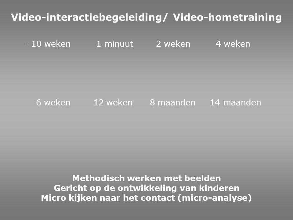 Methodisch werken met beelden Gericht op de ontwikkeling van kinderen Micro kijken naar het contact (micro-analyse) - 10 weken 1 minuut 2 weken 4 weke