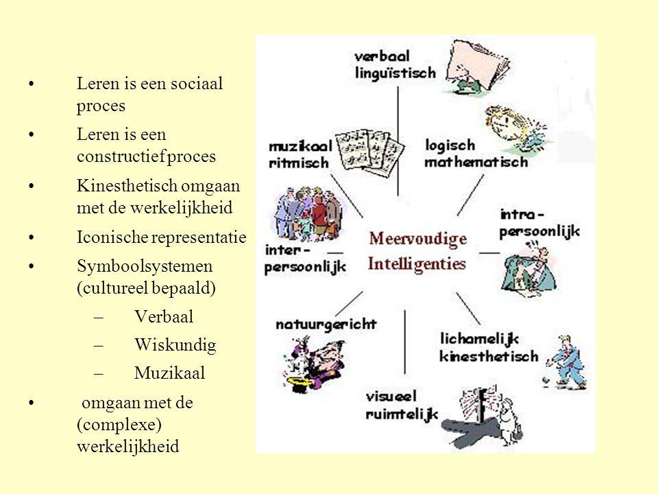 •Leren is een sociaal proces •Leren is een constructief proces •Kinesthetisch omgaan met de werkelijkheid •Iconische representatie •Symboolsystemen (c