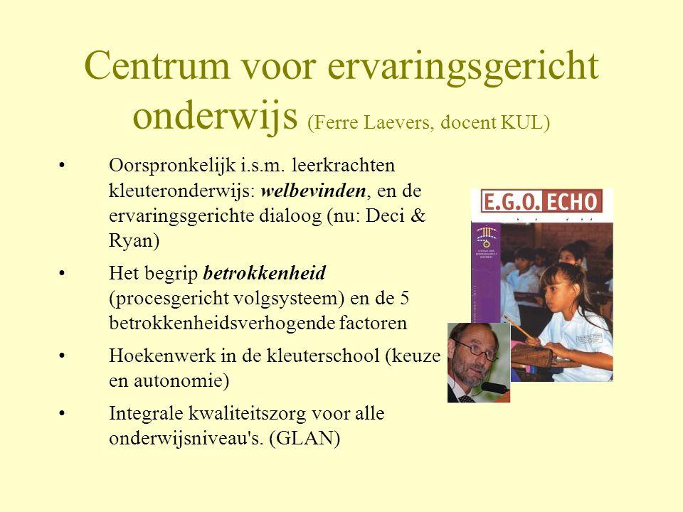 Centrum voor ervaringsgericht onderwijs (Ferre Laevers, docent KUL) •Oorspronkelijk i.s.m. leerkrachten kleuteronderwijs: welbevinden, en de ervarings