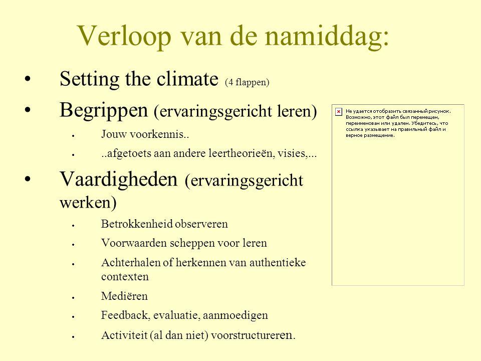 Verloop van de namiddag: •Setting the climate (4 flappen) •Begrippen (ervaringsgericht leren)  Jouw voorkennis.. ..afgetoets aan andere leertheorieë