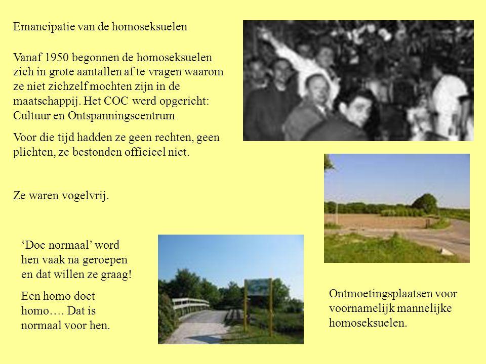 Emancipatie van de homoseksuelen Vanaf 1950 begonnen de homoseksuelen zich in grote aantallen af te vragen waarom ze niet zichzelf mochten zijn in de maatschappij.