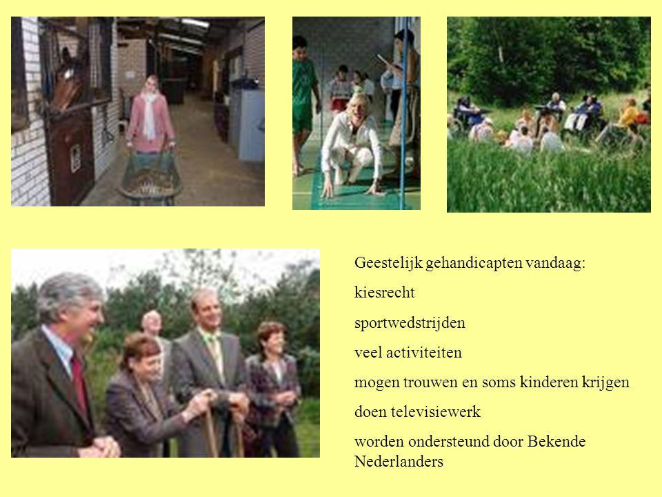 Geestelijk gehandicapten vandaag: kiesrecht sportwedstrijden veel activiteiten mogen trouwen en soms kinderen krijgen doen televisiewerk worden ondersteund door Bekende Nederlanders
