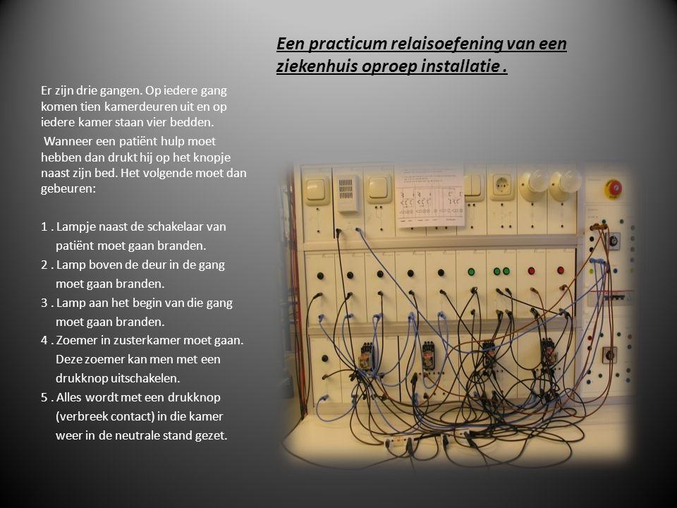 Een practicum relaisoefening van een ziekenhuis oproep installatie.