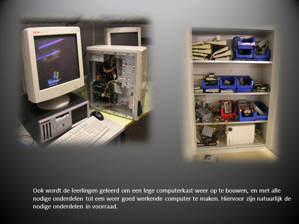 Ook wordt de leerlingen geleerd om een lege computerkast weer op te bouwen, en met alle nodige onderdelen tot een weer goed werkende computer te maken.