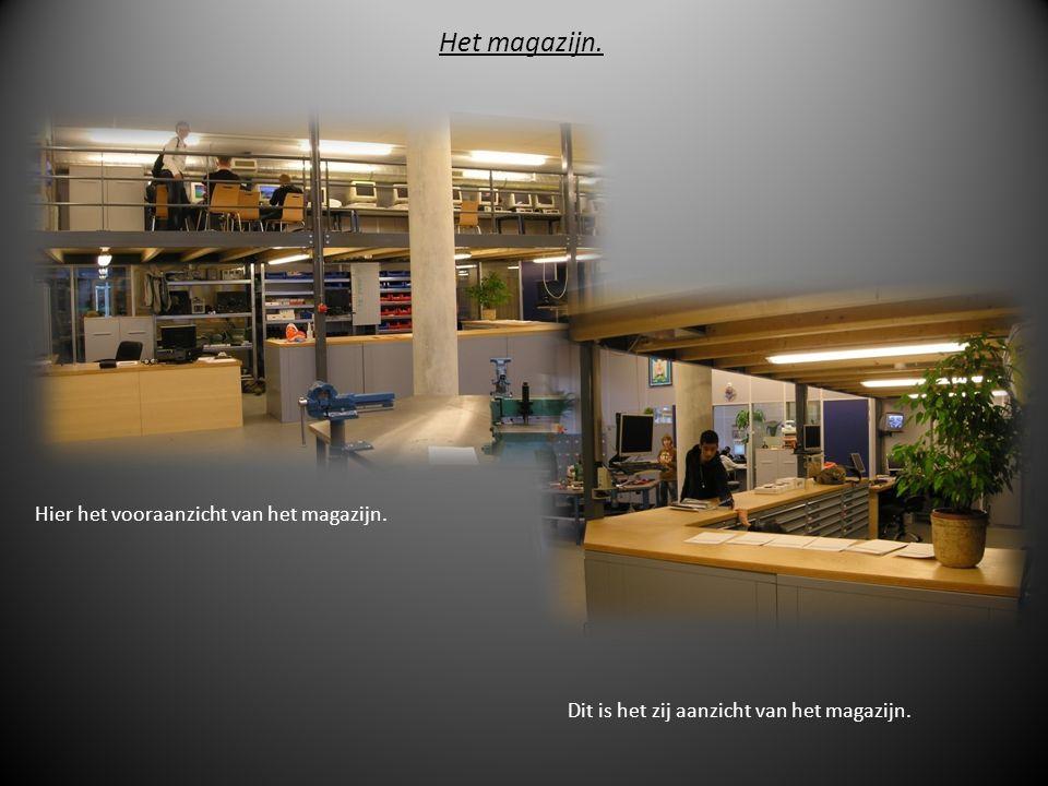 Het magazijn. Hier het vooraanzicht van het magazijn. Dit is het zij aanzicht van het magazijn.