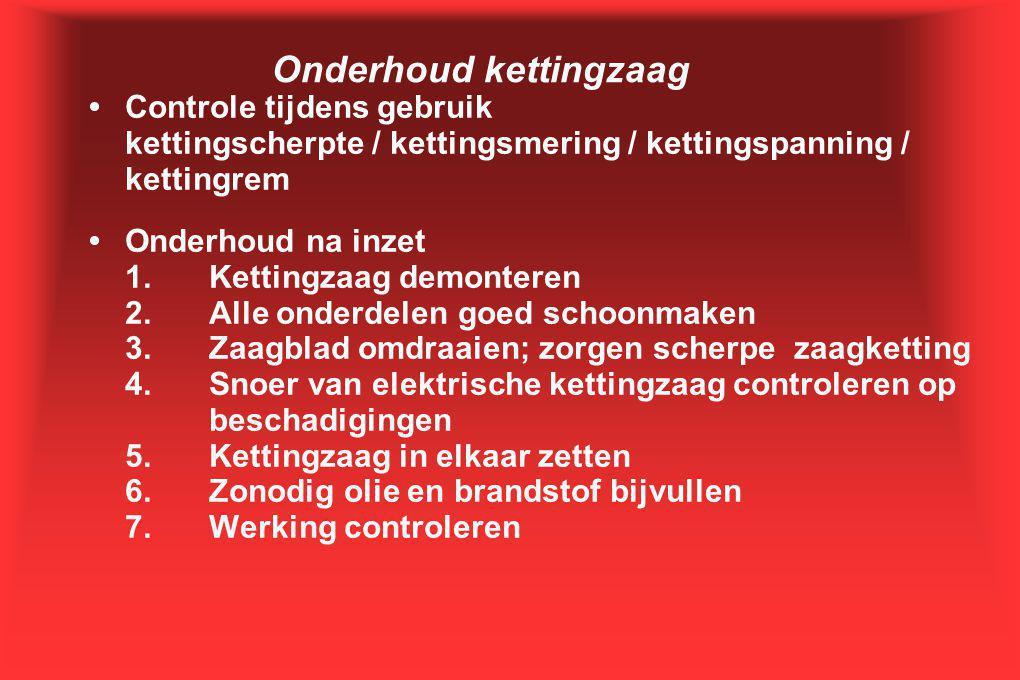 Onderhoud kettingzaag •Controle tijdens gebruik kettingscherpte / kettingsmering / kettingspanning / kettingrem •Onderhoud na inzet 1.Kettingzaag demo