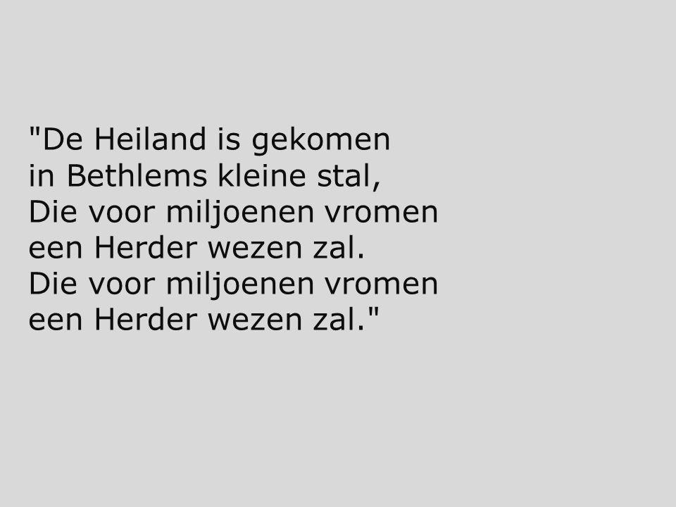 De Heiland is gekomen in Bethlems kleine stal, Die voor miljoenen vromen een Herder wezen zal.