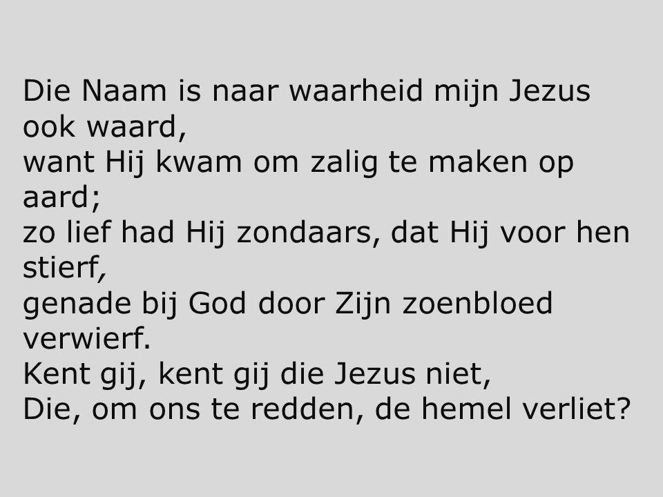 Die Naam is naar waarheid mijn Jezus ook waard, want Hij kwam om zalig te maken op aard; zo lief had Hij zondaars, dat Hij voor hen stierf, genade bij