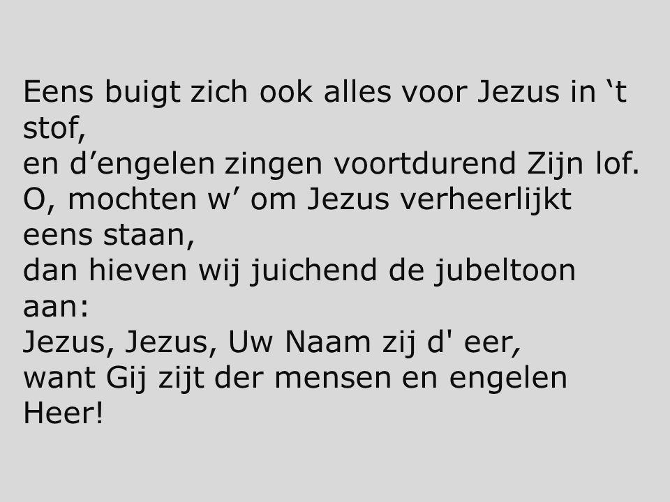 Eens buigt zich ook alles voor Jezus in 't stof, en d'engelen zingen voortdurend Zijn lof. O, mochten w' om Jezus verheerlijkt eens staan, dan hieven