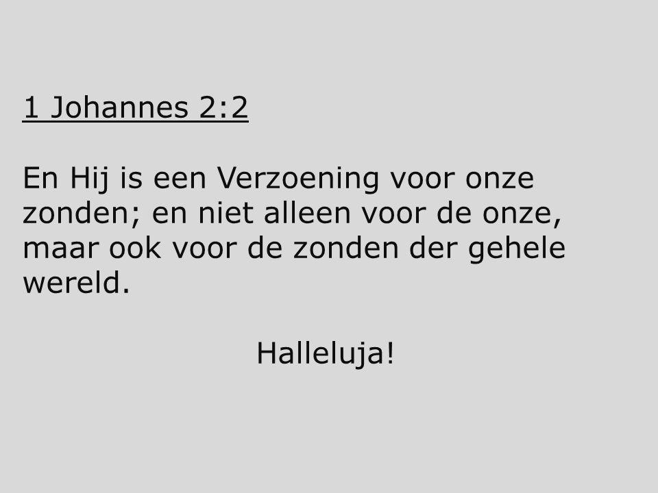 1 Johannes 2:2 En Hij is een Verzoening voor onze zonden; en niet alleen voor de onze, maar ook voor de zonden der gehele wereld. Halleluja!