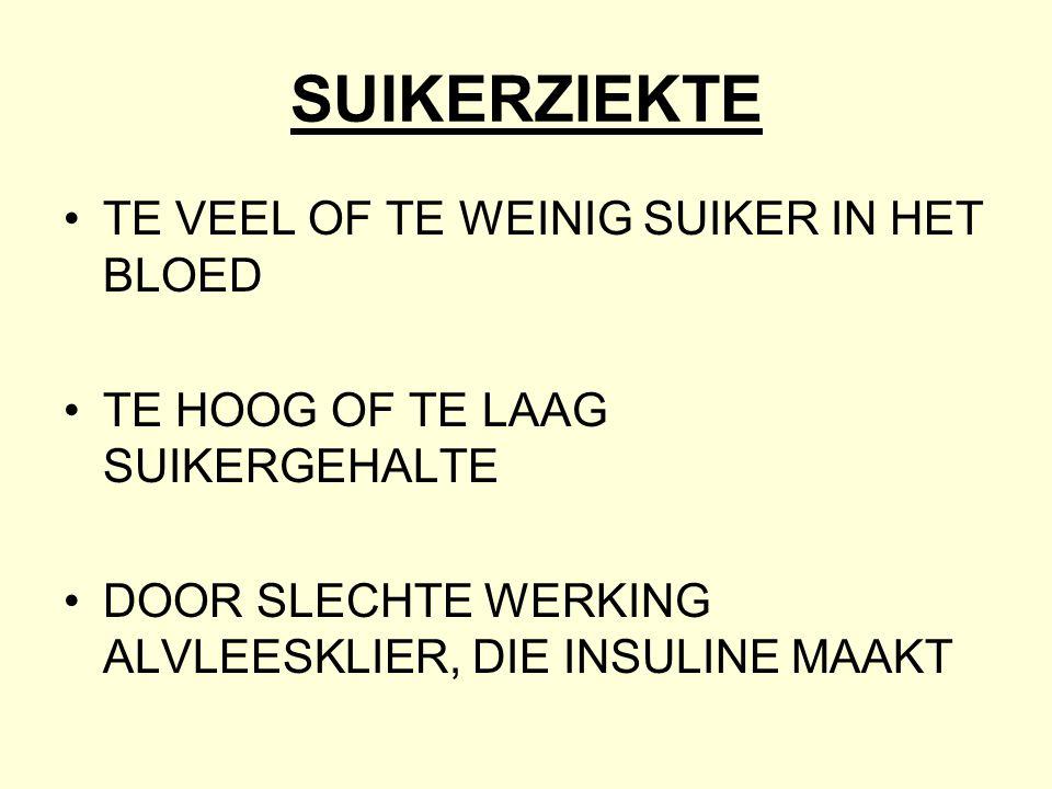 SUIKERZIEKTE •TE VEEL OF TE WEINIG SUIKER IN HET BLOED •TE HOOG OF TE LAAG SUIKERGEHALTE •DOOR SLECHTE WERKING ALVLEESKLIER, DIE INSULINE MAAKT