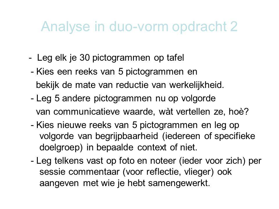 Analyse in duo-vorm opdracht 2 - Leg elk je 30 pictogrammen op tafel - Kies een reeks van 5 pictogrammen en bekijk de mate van reductie van werkelijkh