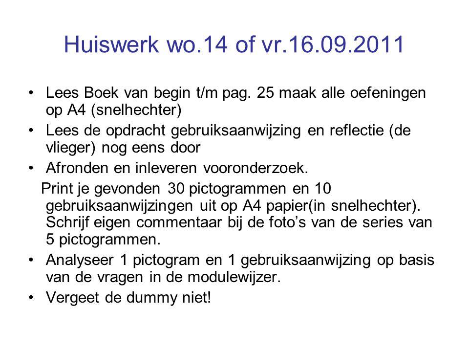 Huiswerk wo.14 of vr.16.09.2011 •Lees Boek van begin t/m pag. 25 maak alle oefeningen op A4 (snelhechter) •Lees de opdracht gebruiksaanwijzing en refl