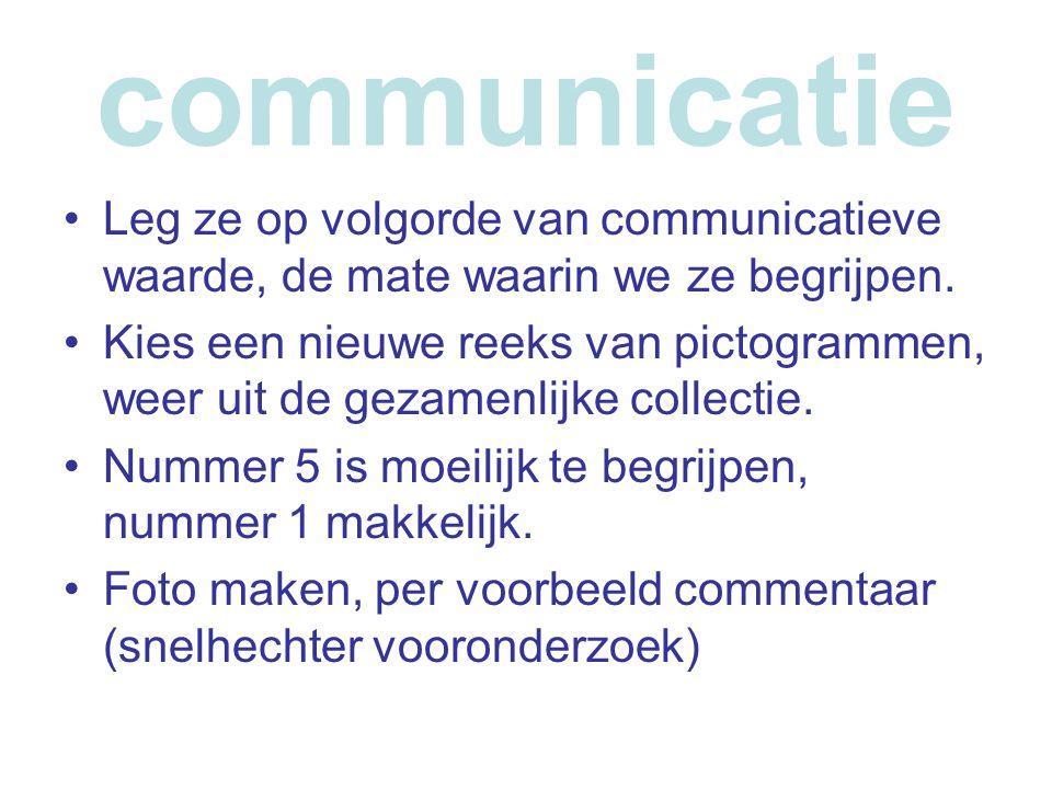 communicatie •Leg ze op volgorde van communicatieve waarde, de mate waarin we ze begrijpen. •Kies een nieuwe reeks van pictogrammen, weer uit de gezam