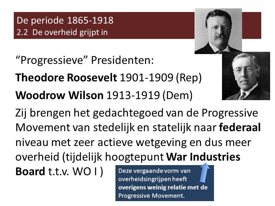 Progressieve Presidenten: Theodore Roosevelt 1901-1909 (Rep) Woodrow Wilson 1913-1919 (Dem) Zij brengen het gedachtegoed van de Progressive Movement van stedelijk en statelijk naar federaal niveau met zeer actieve wetgeving en dus meer overheid (tijdelijk hoogtepunt War Industries Board t.t.v.