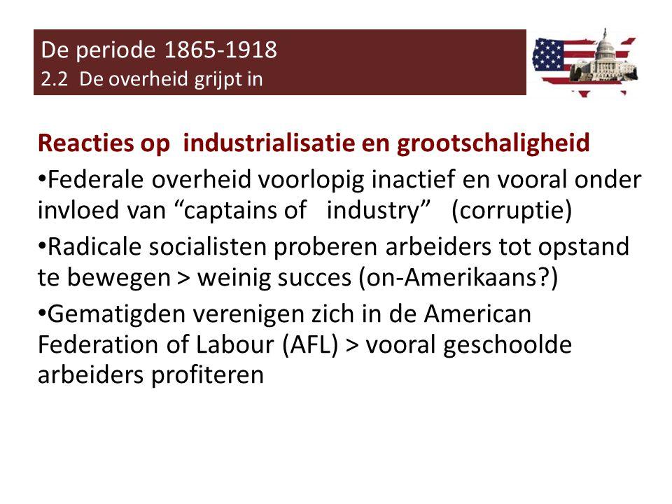 Reacties op industrialisatie en grootschaligheid Populisten: Terugkeer naar waarden/normen van kleinsteeds en agrarisch Amerika.