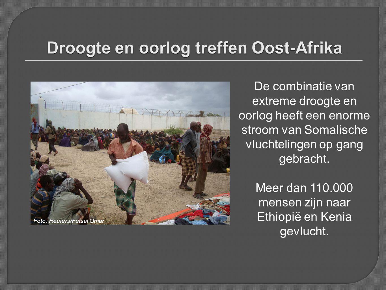 De combinatie van extreme droogte en oorlog heeft een enorme stroom van Somalische vluchtelingen op gang gebracht. Meer dan 110.000 mensen zijn naar E