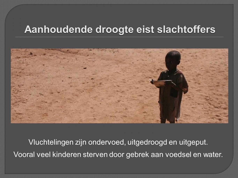 Vluchtelingen zijn ondervoed, uitgedroogd en uitgeput. Vooral veel kinderen sterven door gebrek aan voedsel en water.