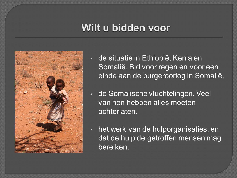 • de situatie in Ethiopië, Kenia en Somalië. Bid voor regen en voor een einde aan de burgeroorlog in Somalië. • de Somalische vluchtelingen. Veel van