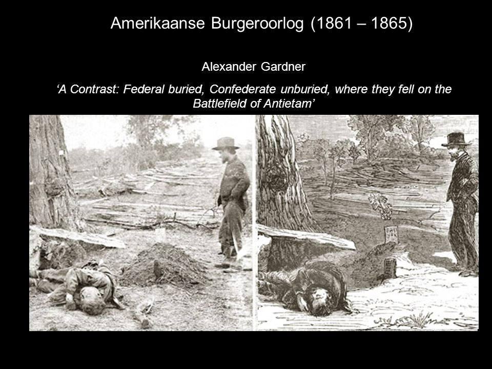 Amerikaanse Burgeroorlog (1861 – 1865) Alexander Gardner 'A Contrast: Federal buried, Confederate unburied, where they fell on the Battlefield of Anti