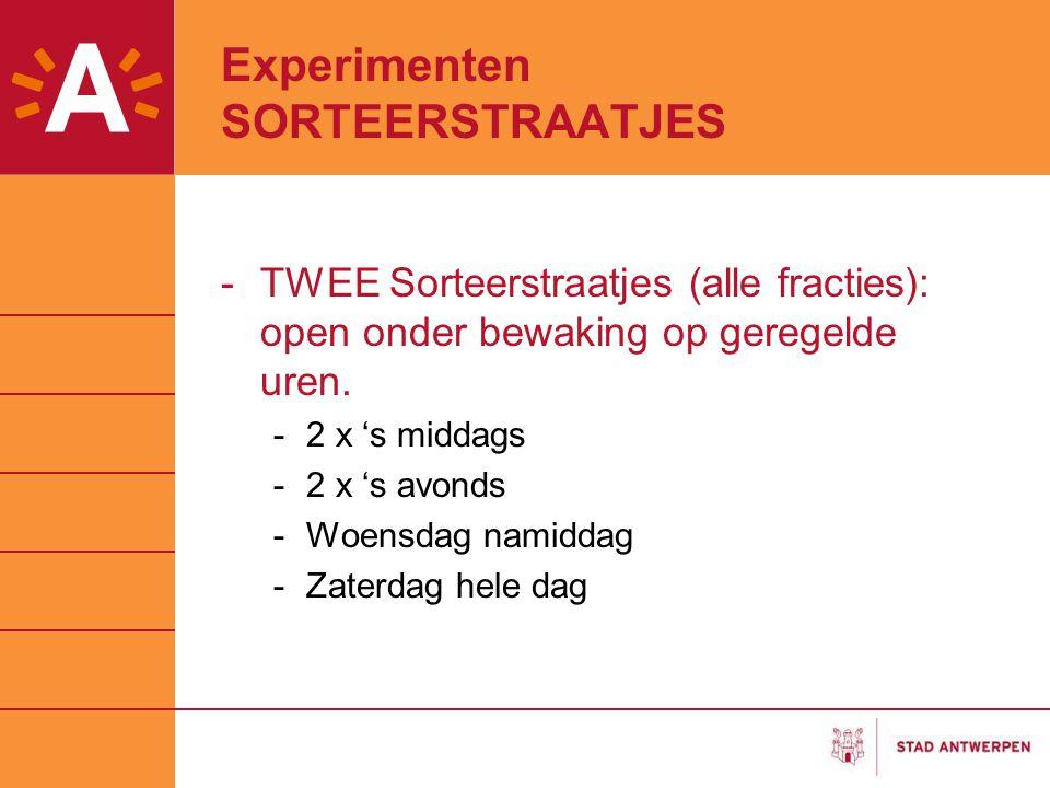 Experimenten SORTEERSTRAATJES -TWEE Sorteerstraatjes (alle fracties): open onder bewaking op geregelde uren. -2 x 's middags -2 x 's avonds -Woensdag