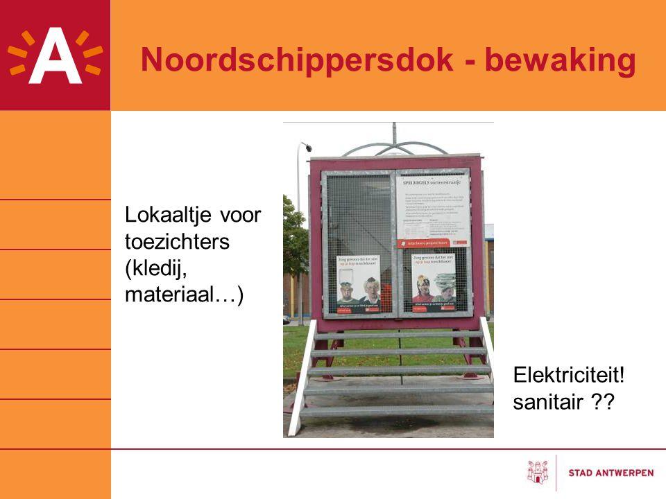 Noordschippersdok - bewaking Lokaaltje voor toezichters (kledij, materiaal…) Elektriciteit! sanitair ??
