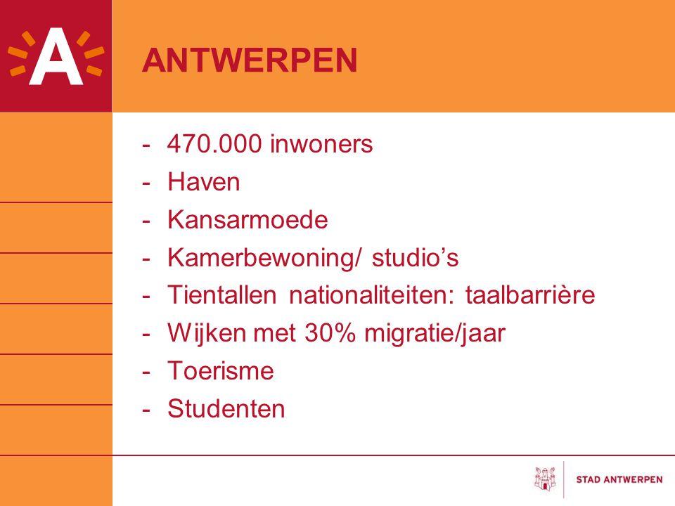 ANTWERPEN -470.000 inwoners -Haven -Kansarmoede -Kamerbewoning/ studio's -Tientallen nationaliteiten: taalbarrière -Wijken met 30% migratie/jaar -Toer