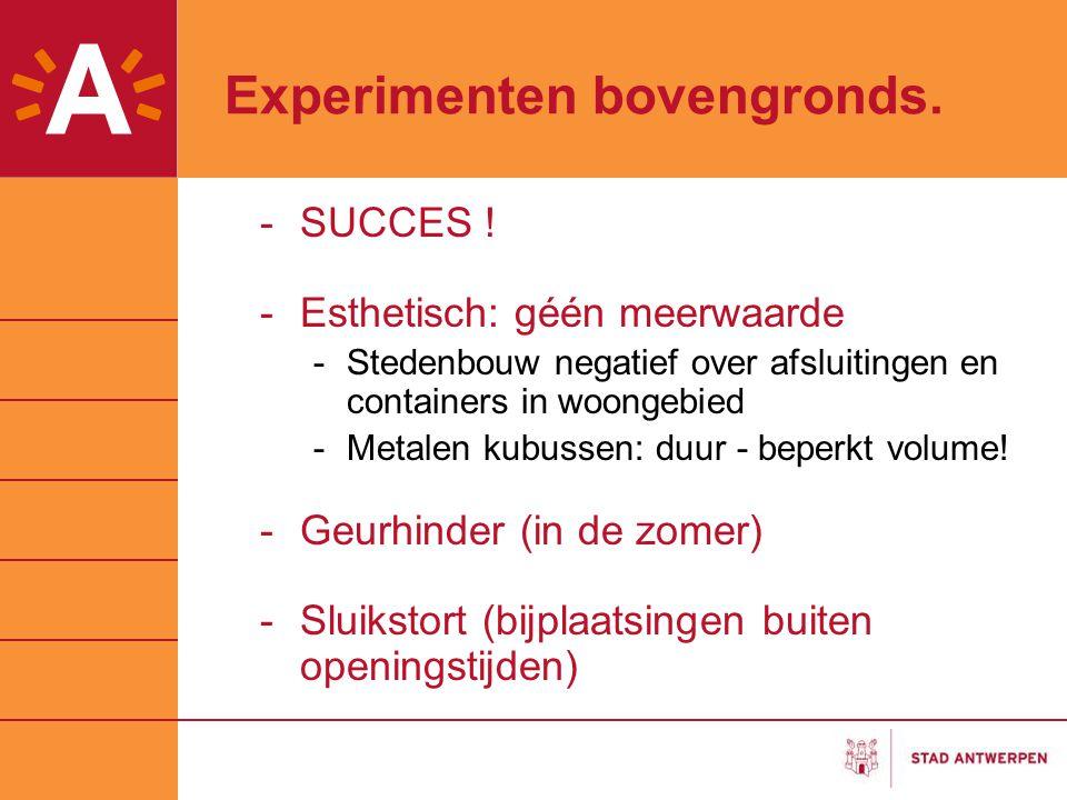 Experimenten bovengronds. -SUCCES ! -Esthetisch: géén meerwaarde -Stedenbouw negatief over afsluitingen en containers in woongebied -Metalen kubussen: