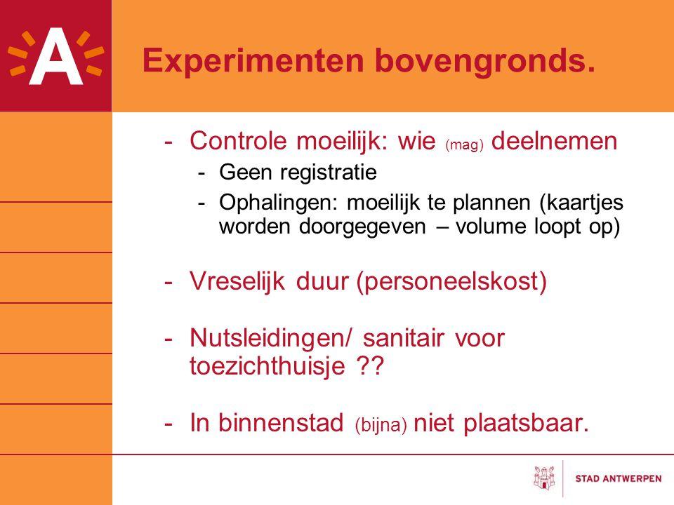 Experimenten bovengronds. -Controle moeilijk: wie (mag) deelnemen -Geen registratie -Ophalingen: moeilijk te plannen (kaartjes worden doorgegeven – vo