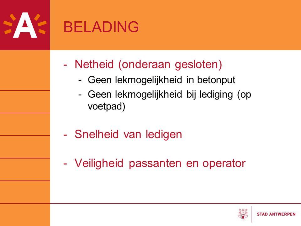 BELADING -Netheid (onderaan gesloten) -Geen lekmogelijkheid in betonput -Geen lekmogelijkheid bij lediging (op voetpad) -Snelheid van ledigen -Veiligh