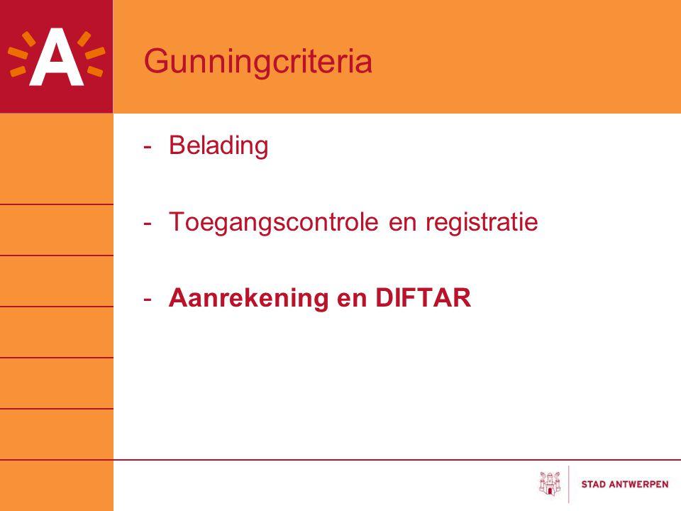 Gunningcriteria -Belading -Toegangscontrole en registratie -Aanrekening en DIFTAR