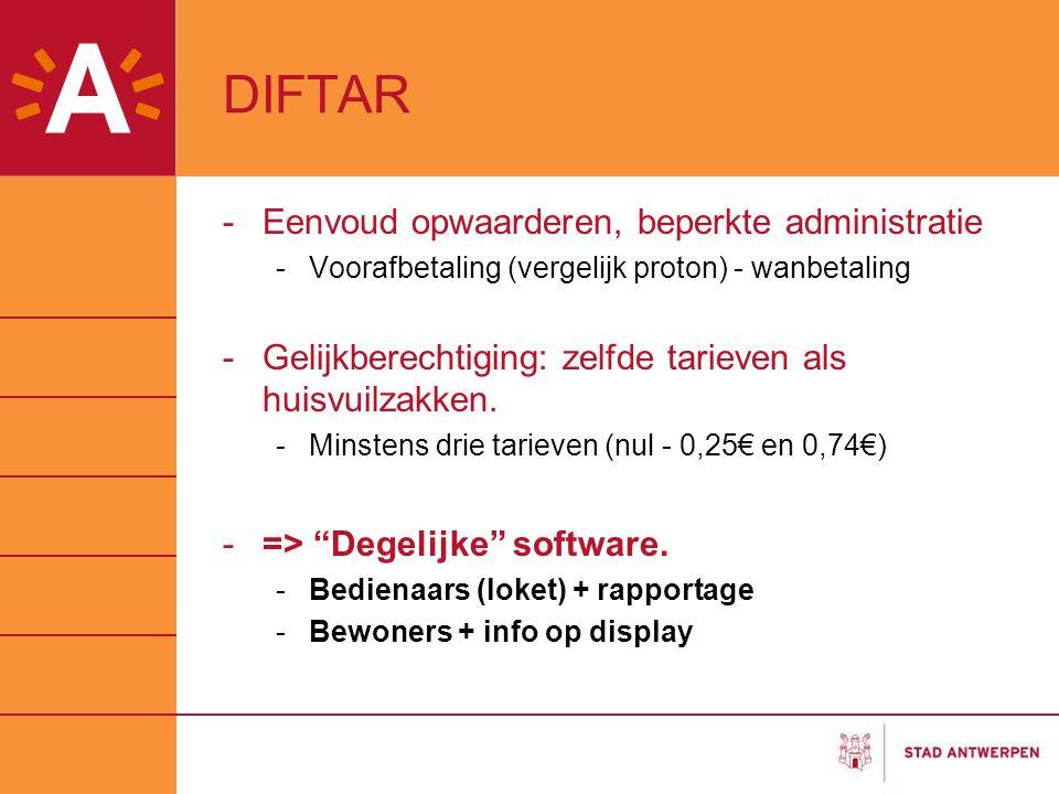 DIFTAR -Eenvoud opwaarderen, beperkte administratie -Voorafbetaling (vergelijk proton) - wanbetaling -Gelijkberechtiging: zelfde tarieven als huisvuilzakken.