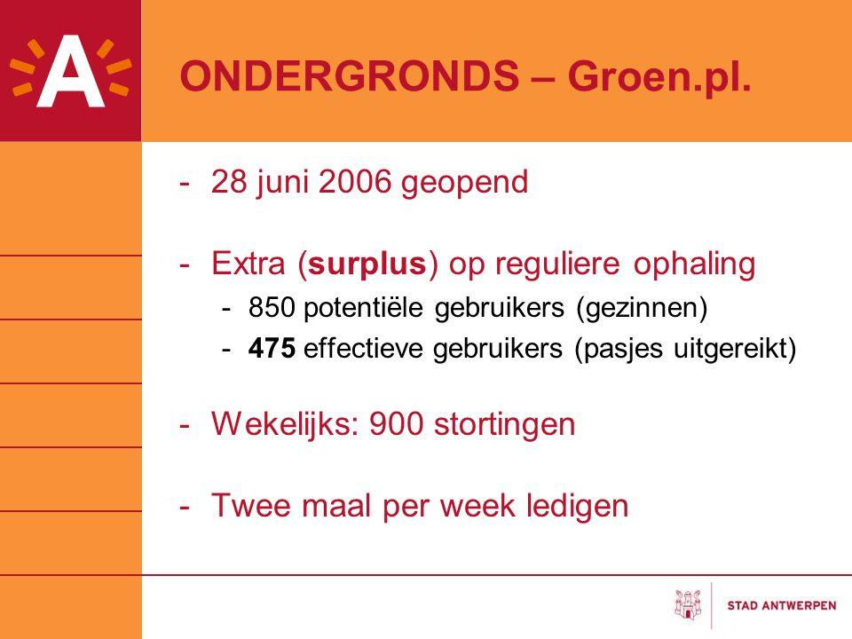 ONDERGRONDS – Groen.pl. -28 juni 2006 geopend -Extra (surplus) op reguliere ophaling -850 potentiële gebruikers (gezinnen) -475 effectieve gebruikers