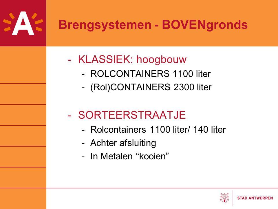 Brengsystemen - BOVENgronds -KLASSIEK: hoogbouw -ROLCONTAINERS 1100 liter -(Rol)CONTAINERS 2300 liter -SORTEERSTRAATJE -Rolcontainers 1100 liter/ 140 liter -Achter afsluiting -In Metalen kooien