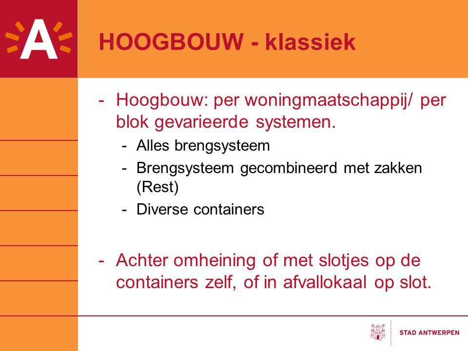 HOOGBOUW - klassiek -Hoogbouw: per woningmaatschappij/ per blok gevarieerde systemen. -Alles brengsysteem -Brengsysteem gecombineerd met zakken (Rest)