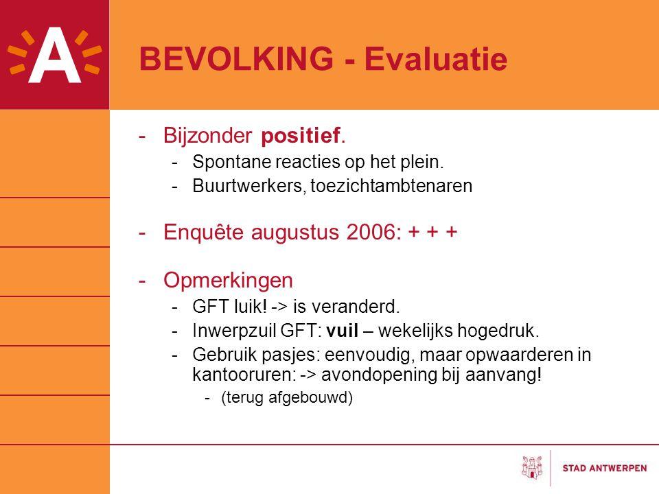 BEVOLKING - Evaluatie -Bijzonder positief. -Spontane reacties op het plein. -Buurtwerkers, toezichtambtenaren -Enquête augustus 2006: + + + -Opmerking