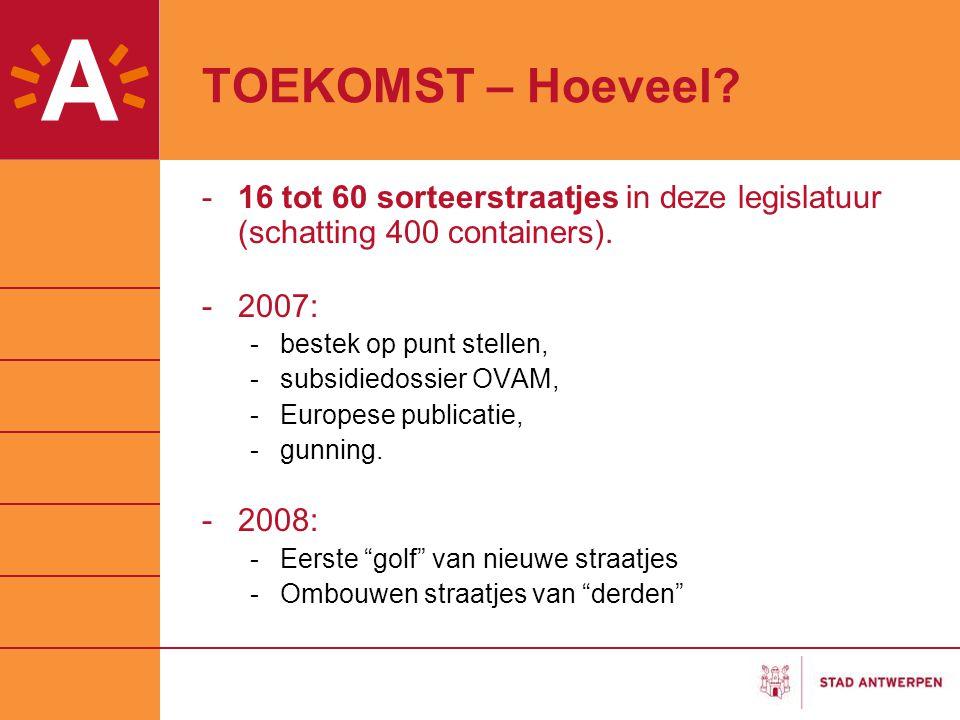 TOEKOMST – Hoeveel? -16 tot 60 sorteerstraatjes in deze legislatuur (schatting 400 containers). -2007: -bestek op punt stellen, -subsidiedossier OVAM,