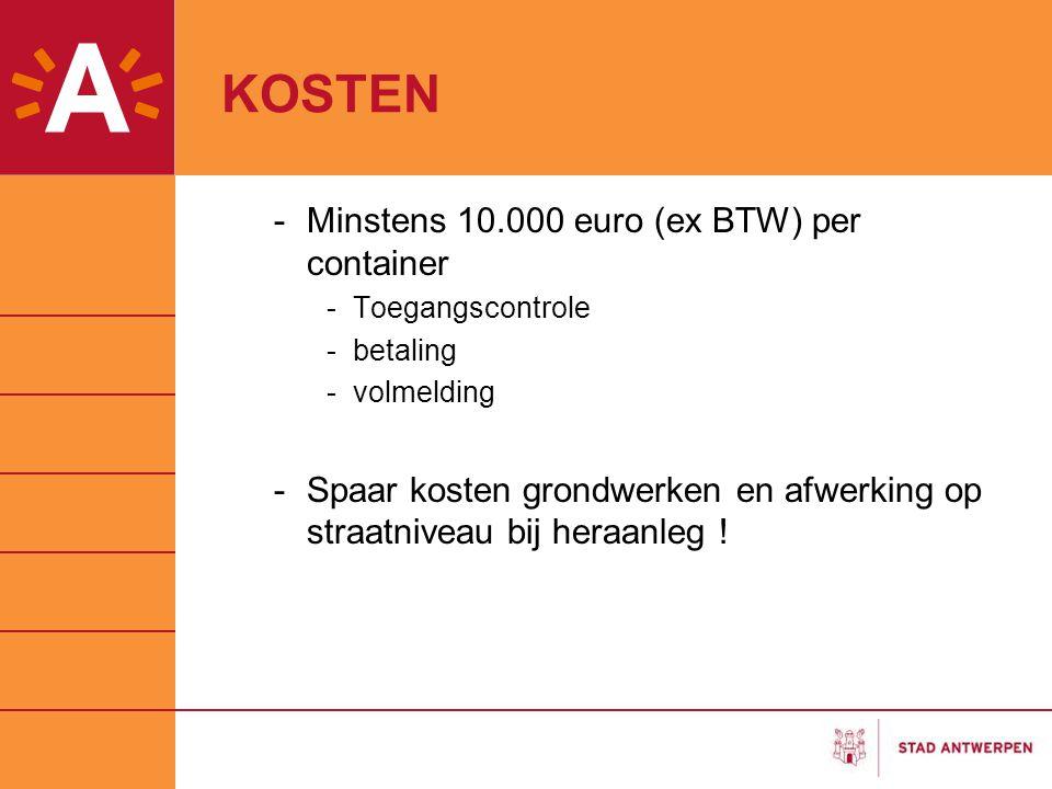 KOSTEN -Minstens 10.000 euro (ex BTW) per container -Toegangscontrole -betaling -volmelding -Spaar kosten grondwerken en afwerking op straatniveau bij heraanleg !