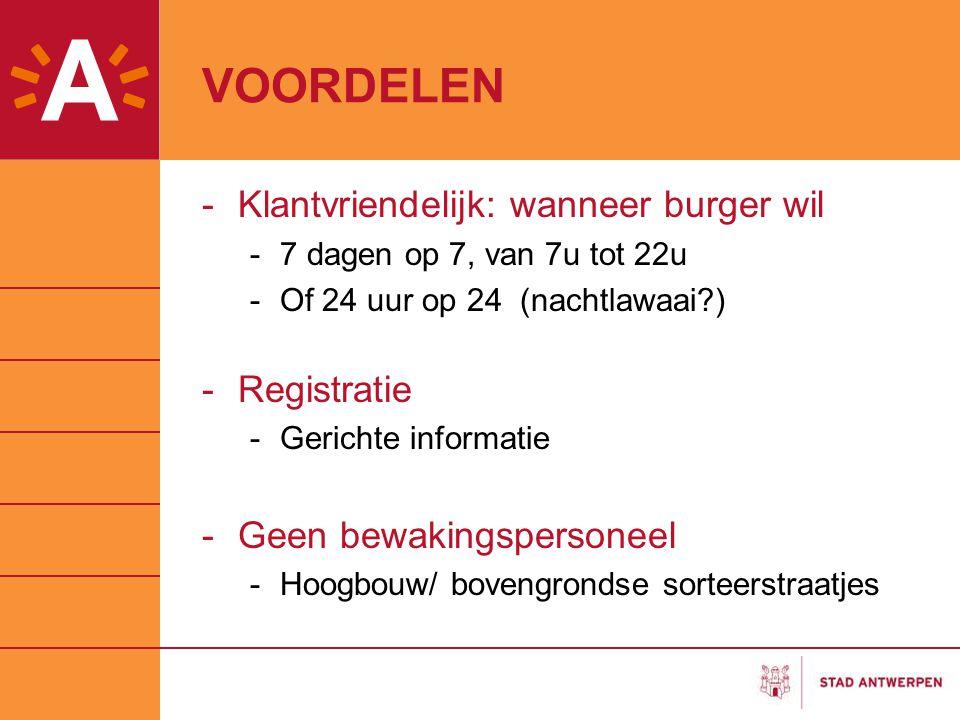 VOORDELEN -Klantvriendelijk: wanneer burger wil -7 dagen op 7, van 7u tot 22u -Of 24 uur op 24 (nachtlawaai?) -Registratie -Gerichte informatie -Geen