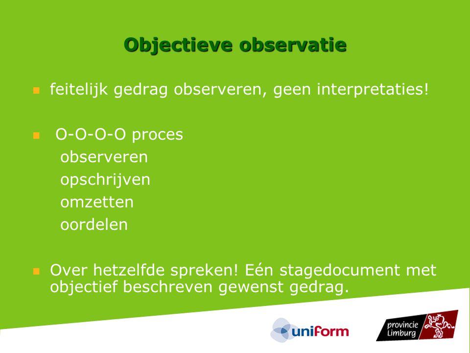 Objectieve observatie  feitelijk gedrag observeren, geen interpretaties.