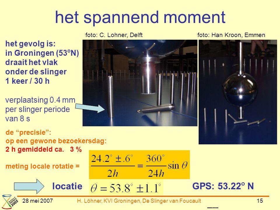 28 mei 2007H. Löhner, KVI Groningen, De Slinger van Foucault15 het spannend moment het gevolg is: in Groningen (53 o N) draait het vlak onder de sling