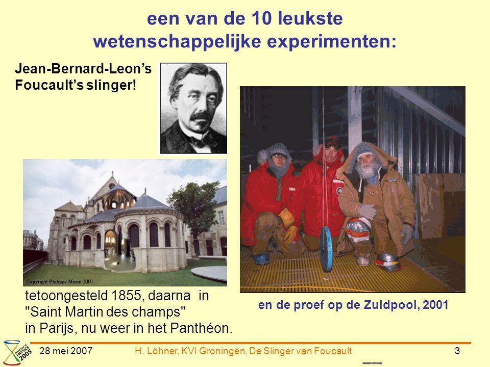 28 mei 2007H. Löhner, KVI Groningen, De Slinger van Foucault3 een van de 10 leukste wetenschappelijke experimenten: Jean-Bernard-Leon's Foucault's sli