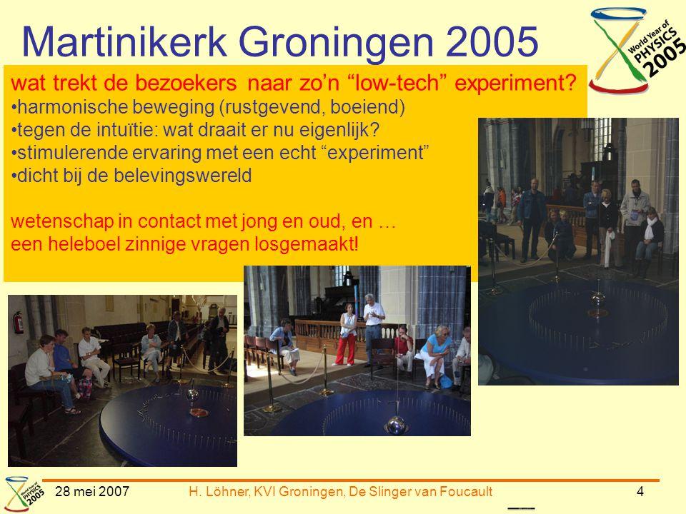 """28 mei 2007H. Löhner, KVI Groningen, De Slinger van Foucault4 Martinikerk Groningen 2005 wat trekt de bezoekers naar zo'n """"low-tech"""" experiment? •harm"""