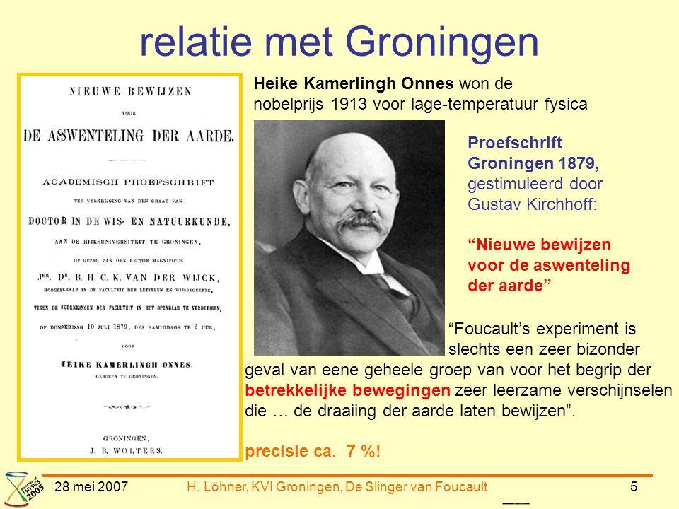 28 mei 2007H. Löhner, KVI Groningen, De Slinger van Foucault5 relatie met Groningen Heike Kamerlingh Onnes won de nobelprijs 1913 voor lage-temperatuu