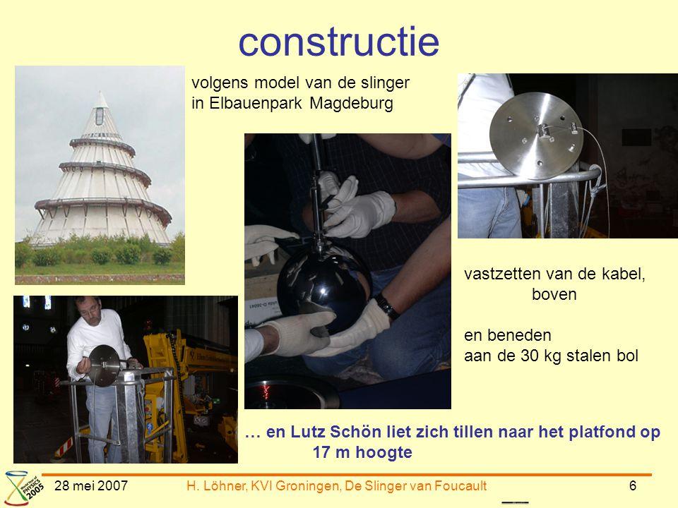 28 mei 2007H. Löhner, KVI Groningen, De Slinger van Foucault6 constructie volgens model van de slinger in Elbauenpark Magdeburg vastzetten van de kabe