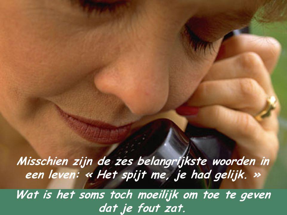 Misschien zijn de zes belangrijkste woorden in een leven: « Het spijt me, je had gelijk. » Wat is het soms toch moeilijk om toe te geven dat je fout z