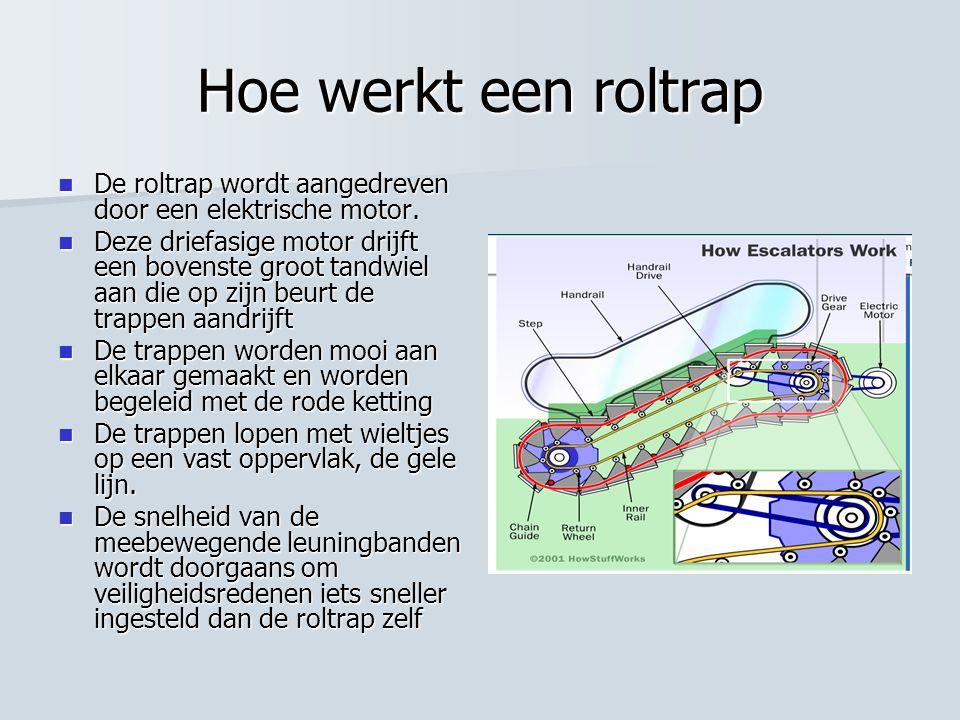 Hoe werkt een roltrap  De roltrap wordt aangedreven door een elektrische motor.  Deze driefasige motor drijft een bovenste groot tandwiel aan die op