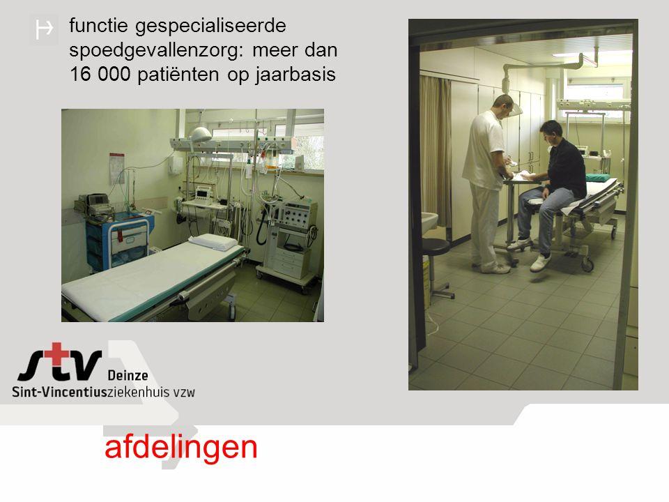 hospitalisatie: meer dan 7 000 patiënten op jaarbasis 170 bedden: heelkunde: 46 inwendige: 48 intensieve zorgen: 6 geriatrie: 34 materniteit: 16 kinderafdeling: 20 afdelingen