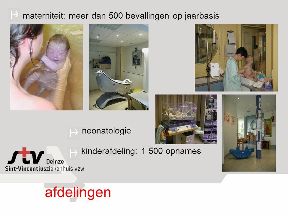 materniteit: meer dan 500 bevallingen op jaarbasis kinderafdeling: 1 500 opnames neonatologie